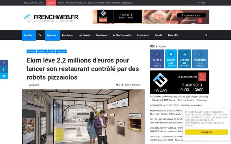 Ekim lève 2,2 millions d'euros pour lancer son restaurant contrôlé par des robots pizzaiolos : FrenchWeb.fr