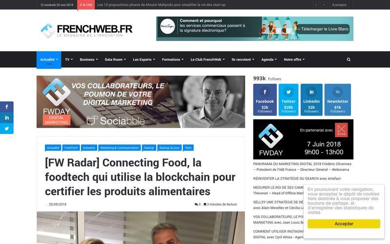 Connecting Food, la foodtech qui utilise la blockchain pour certifier les produits alimentaires (FrenchWeb.fr)