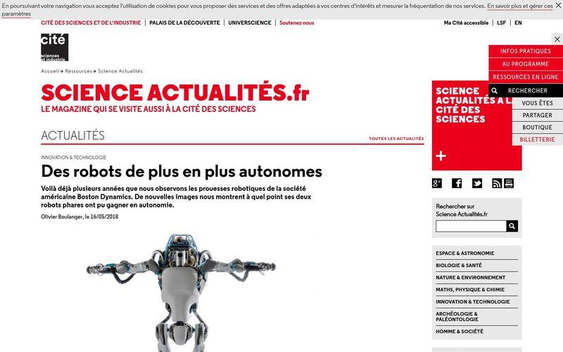 Science Actualités : Des robots de plus en plus autonomes