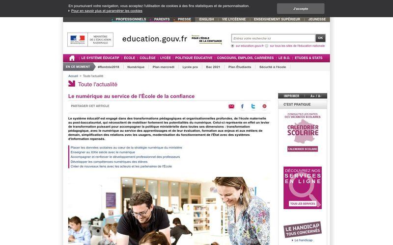 Le numérique au service de l'École de la confiance